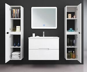 Badmöbel Set TIANA 60 cm Weiß Waschtisch Unterschrank LED Spiegel Seitenschrank