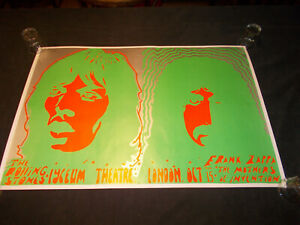 +++ 1969/1974 ROLLING STONES FRANK ZAPPA Lyceum London Blacklight Poster by L.W.