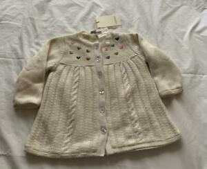 CATIMINI Girls 12m (Generous) Cream fleece lined knitted cardigan/jacket NWT
