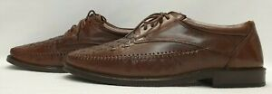 CLARKS Mens Shoes Size 10.5 EU 45 Brown Leather Lace up Woven Shoes