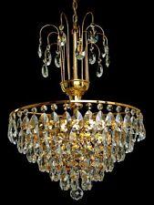Lustre avec véritable cristal, armature en métal, 6 brûleurs couleur or