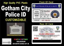 BATMAN GOTHAM CITY POLICE ID Badge / Card Prop >>CUSTOM WITH YOUR INFO & PHOTO<<