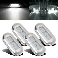 4pcs Marine Boat LED Oblong Courtesy Light Stair Yacht Deck Clear Stainless 12V
