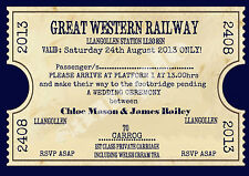 PERSONALISED VINTAGE TRAIN TICKET WEDDING INVITATIONS-SOLD IN PACKS OF 20'S