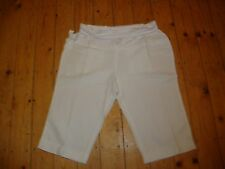 BNWT MATERNITY White Linen Blend Roll Top Cropped Trousers Size 16