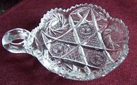 Antique Vintage Clear Crystal Glass Nappy With Saw Tooth Edges