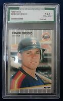 1989 Fleer AGS 10 Gem Mint Craig Biggio Hall Of Fame Rookie Baseball Card Astros