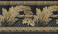 Victorian Tan Leaf Scroll-Tapestry look on Black Wallpaper Border