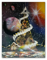 1990's Vintage Original SPACE Sci-Fi Fantasy Painting, Signed
