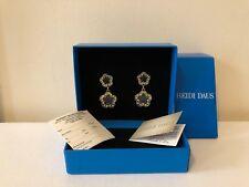 "Heidi Daus ""Easy Does It"" Swarovski clear crystal & enamel drop earrings pierce"