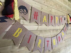 HARRY POTTER⚡️Happy Birthday Hessian Tasseled Bunting Hogwarts Themed 2 x 2m ⚡️