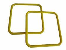 "Pair of 8"" Bright Yellow Square Plastic Macrame Craft Handbag Purse Handles"
