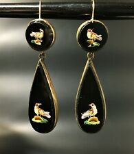 Antico Vittoriano MICRO MOSAICO Orecchini Pendenti-Onyx & Gold-Birds Design