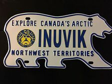 Northwest Territories Canada Polar Bear License Plate Souvenir 1958-2008 INUVIK
