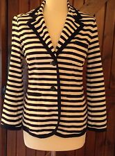 CREW CLOTHING UNLINED NAVY/WHITE STRIPE FITTED BLAZER SIZE 12