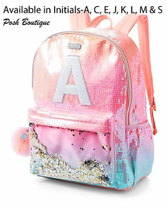 A C E J K L M S JUSTICE Girls Initial ombre unicorn shaky backpack bag Sequins