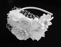 WHITE flower girl headband pearl rhinestone satin chiffon veil wedding bridal