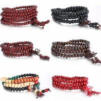 Women Men Jewelry Tibetan Buddhist Wrap Wooden Bracelet/Necklace Worry Beads New