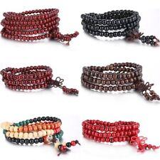 Women Men Jewelry Tibetan Buddhist Wrap Wooden Bracelet/Necklace Worry Beads New