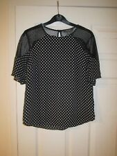 BNWOT Black White Sheer Mesh Polka Dot Blouse Short Sleeved Swing Retro 8 10