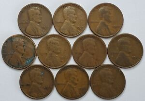 Lot of (10) 1924 S Lincoln Wheat Cents