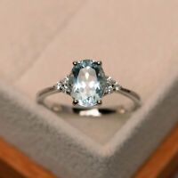 2.15 Ct Oval Diamond Aquamarine Engagement Ring 14K Solid White Gold Rings Size