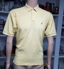 Nautica Polo Shirt Size Medium Short Sleeve Yellow Solid Shirt 100% Pima Cotton