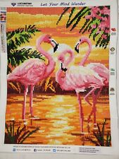 COMPLETED Flamingos sunset Diamond Painting full round drill