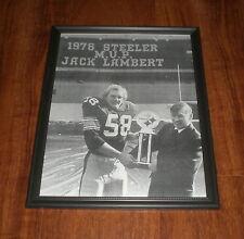 1976 STEELERS JACK LAMBERT & DAN ROONEY FRAMED MVP B&W PRINT
