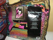 Rainbow Leopard Colorful Twin Comforter Set, Teen Girls 3 Piece Bedding, NEW!