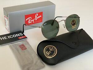 Ray-Ban Round 3447 029/50 Gunmetal-Metal Green Lens Stadard Size 50