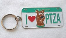Vintage 1998 Scooby Doo I Love Pizza California License Tag Key Chain