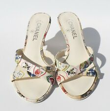 320026a356 CHANEL 06P Valentine's Ivory Multi Heart Canvas Wedge Silver CC Heel Sandals  38