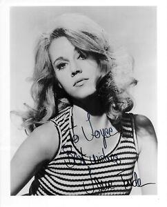 """Jane Fonda Authentic Signed BW 8.25"""" x 10"""" Glossy Photo COA"""