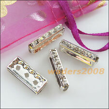 5 New Connectors Rhinestone 3 Hole Rectangle Spacer Bars Silver Plated 8x19mm