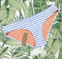 J.Crew $46 Deck Stripe Bikini Bottom Swim Suit Size L new coastline blue 79154