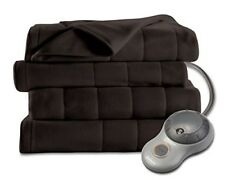 Sunbeam Heated Blanket Quilted Fleece Electric Full Size Extra Soft Dark Brown