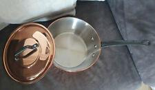 Französische Kupfer Kasserolle Windsor Pan 2,5 mm mit Deckel wie Mauviel