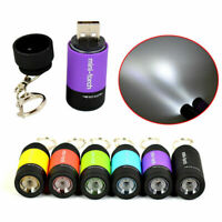 Mini LED Light USB Rechargeable Flashlight Lamp Pocket Keychain Torch Waterproof