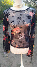 BEAUTIFUL BLACK RED STRETCH SHEER VINTAGE TOP, SIZE 8 GOTHIC, STEAMPUNK, BOHO