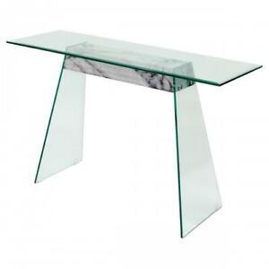 Talladega Glass Console Table - Marble effect base