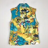 Chico's Women's Colorful Fiesta Print Linen Cotton Button Front Vest Sz 2 Large