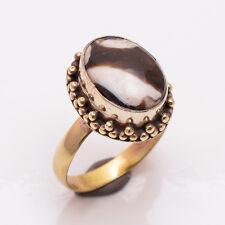 Natural Jasper Gemstone Ring US Size 9, Handmade Antique Brass Jewelry BRR32