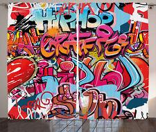 Graffiti Curtains Hip Hop Street Art Window Drapes 2 Panel Set 108x84 Inches