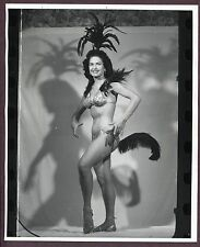 Burlesque Tall Showgirl 1950 ORIGINAL Vintage 8x10 Nude Photo Las Vegas C099
