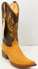 El General Ostrich Leather Caiman Cuadros Cognac Juarez Cowboy Men's Boots 7 M