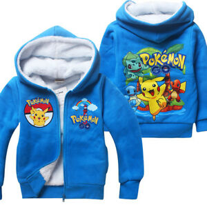 US STOCK Pokemon Go Pikachu Kids Boys Fleece Zip Hoodie Winter Coat Jacket #BED