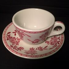 Red Delph Sterling China Restaurant Ware Coffee Cup & Saucer Set Floral Mint