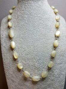 Vintage Mother Of Pearl Barrel Bead link Necklace