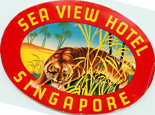 Sea View Hotel ~SINGAPORE~ Vibrant / Colorful TIGER Luggage Label, c. 1950